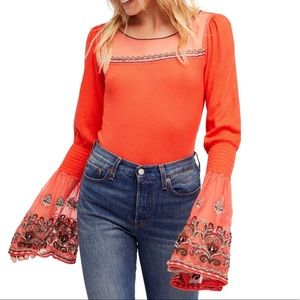 NWT Free People High Tides Bell Sleeve Boho Top